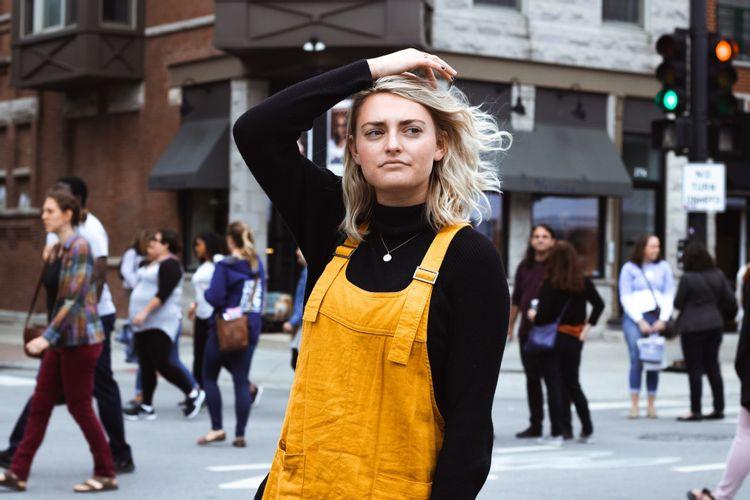 Woman-Traffic-Light-City-Yellow-Overalls-Joseph-Frank